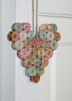 Coiled Paper Heart Ornament Recycled and Reused by BlueTangDesigns