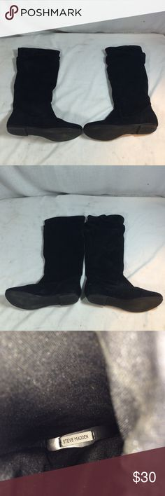 Steve Madden Black Leather Boots Size 9. Good condition! Steve Madden Shoes Winter & Rain Boots