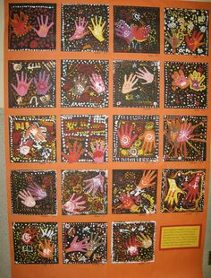aboriginal hand printing - one big mural with each child doing a hand print and then weave then into an aboriginal art work!