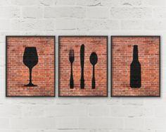 Kitchen Prints Beer Wine Fork Knife Spoon Art - Dining Room Wall Art - Dining Prints - Set of 3 Prints - Hipster Kitchen Wall Decor