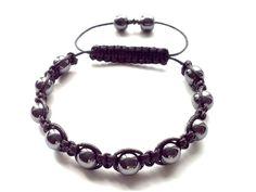 men's shamballa beaded bracelet handmade jewelry gift HEMATITE beads #Handmade #Shamballa #FormalandCasual