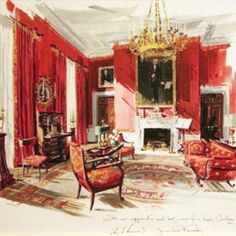 Love this Christmas card that Jackie Kennedy sent to the White House staff circa 1962 (depicting the restoration of the White House Red Room)