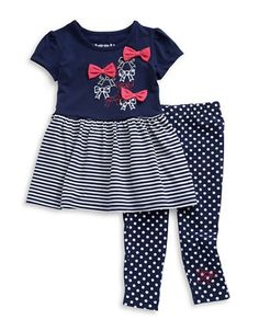 An adorable fit-and-flare with cute bows and stripes matched with polka dot leggings. Cotton/polyester/elastane. Machine wash. Imported.