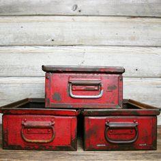 Vintage Industrial Red Bins with HandlesRed Metal by AuroraMills, $35.00