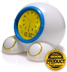 """take back your mornings, mommies!! started using this the day my child went to a toddler bed. clock """"glows"""" green when he's allowed to get up...works like a charm (every morning)!!"""