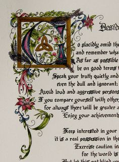 Custom Calligraphy, Made to order, Calligraphy, Desiderata by Max Ehrmann, Original, Elizabethan, Old World Art