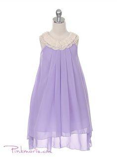 Lilac Crystal Poly Chiffon Trendy Hi-Low Girl Dress