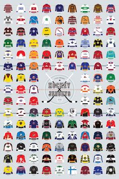 Pop Chart Lab --> Design + Data = Delight --> A Visual Compendium of Hockey Jerseys Hockey Posters, Hockey Logos, Sports Logos, Nhl Logos, Sports Teams, History Of Hockey, Nhl Highlights, Free To Use Images, Nhl Jerseys