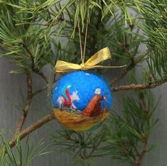 Waldorf needle felted Christmas ornament ball Holy family Mary