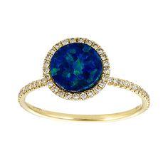 Australian Opal and Diamond Yellow Gold Ring