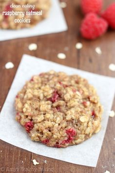 Clean-Eating Raspberry Oatmeal Cookies -- these skinny cookies don't taste healthy at all!