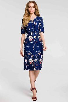 c9d7e11324cf0 Navy Blue Floral Midi Dress With A Front Split