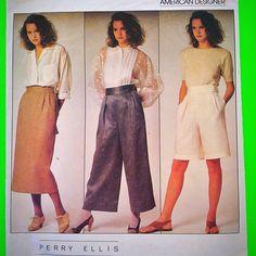 New Listing! Perry Ellis designer pants, shorts, skirt pattern. Gorgeous Classic Summer design :)