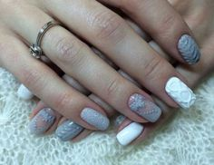 Grey & white mani with knitted jumper design :: one1lady.com :: #nail #nails #nailart #manicure