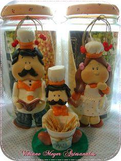 Viviane Meyer Arte em Biscuit: Potes e paliteiro kit de cozinha de biscuit: cozinheiro e cozinheira