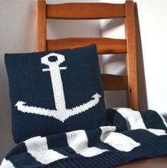 Marine set to order  #pillow #blanket #knitting #knit #stripes #anchor