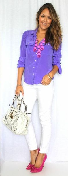 Color and style of the blouse is awesome!
