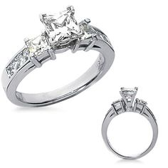 2.92 Ct. Princess Diamond Engagement Ring with Princess Cut Sidestones