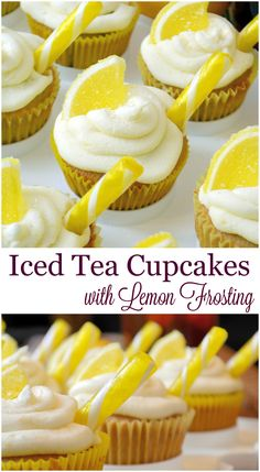 Iced Tea Cupcakes with Lemon Frosting Recipe- a cupcake recipe for iced tea lemonade. Cute cupcakes with lemon and sweet tea flavors, perfect for summer BBQs and parties. It is an Arnold Palmer for de(Summer Baking Sale) Summer Cupcakes, Tea Cupcakes, Baking Cupcakes, Cupcake Cakes, Summer Cupcake Flavors, Classic Cupcake Recipe, Lemon Frosting Recipes, Lemon Icing, Just Desserts
