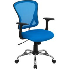 """The """"Flare"""" These cool desk chairs (in Blue) sport a contemporary open mesh back with passive lumbar support and a nicely padded seat upholstered in matching breathable mesh fabric. The waterfall seat edge will reduce the pressure at the back of your knees for increased comfort and blood flow. You can adjust the height and tilt angle of this mesh desk chair to suit your seated preferences, and the heavy duty dual wheel casters allow for easy mobility."""