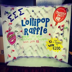 fundraiser: lollipop raffle...people donate $ 1 and get a lollipop. on the bottom of the stick is a number that is the amount of raffle tickets they receive. have them put their name and number on the ticket and they have the chance to win $ 100 giftcard!