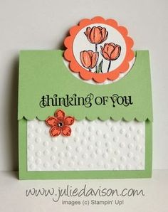 Video tutorial for Flap Fold Card - Spring makeover with Easter Blessings Tulips #stampinup www.juliedavison.com