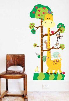 Adesivo de Parede - Regua de Crescimento Girafa