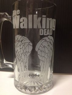 The Walking Dead Daryl Dixon Wings Etched Mug by LiquiFormGraphic