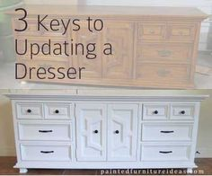 After updating and refinishing over 100+ pieces of furniture, I have learned a few key things that it takes to take an old, used or antique piece of furniture and give it a new feel again.  Here are some of the key things you can do: 1. Choose a Dresser