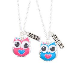 Pink and Blue Owl Best Friends Pendant Necklaces.  Me and my BFFs had this