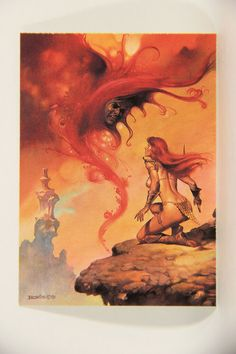 L010251 Boris Vallejo 1991 Card / Scarlet Menace - 1981 - Card #54 / ARTWORK