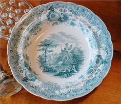 William Ridgely Teal transferware bowl My family's china. So many happy memories on these plates. Antique Dishes, Antique China, Vintage China, Green China, Old Pottery, Blue Dishes, China Plates, Color Shapes, Yard Sale