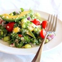 Kale, Edamame, and Quinoa Salad with Lemon Vinaigrette | Ambitious Kitchen - really good, might sub half of the kale for spinach next time, will definitely make again