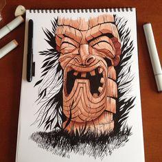 Sunday Tiki #copicmarkers #brushpen #ink #tiki #drawing #illustration