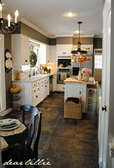 for a small house Kitchen White Cabinets & Gray Walls. Wall Color: Benjamin Moore Chelsea Gray,Cabinet Color: Benjamin Moore Simply White … love this tile floor. Kitchen Soffit, Huge Kitchen, White Kitchen Cabinets, Updated Kitchen, Kitchen Redo, Kitchen White, Kitchen Layout, Kitchen Makeovers, Kitchen Island