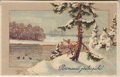 Õnnitlus; talvine maastik; postkaart enne 1940