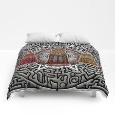 Aztec Dalek Tardis doctor who pencils sketch COMFORTERS #comforters #bedroom #room #home #homedecor #aztec #dalek #drwho #tardis #bluephonebox #davidtennant #medallion #symbol