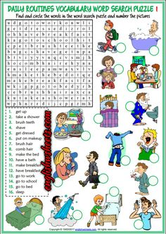 Daily Routines Esl Printable Word Search Puzzle Worksheets For Kids