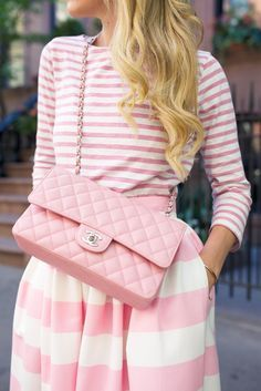 21 Stylish Ways to Wear Pink This Summer: Pink Stripes Outfit For Summer Pink Chanel Bag, Coco Chanel, Chanel Outfit, Chanel Dress, Chanel Bags, Fashion Blogger Style, Fashion Week, Fashion Trends, Fashion Ideas