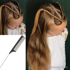 Crossover heart made with a comb from Goudhaartje.nl (see link in bio, worldwide shipping). Hairstyle inspired b Kids Braided Hairstyles, Princess Hairstyles, Little Girl Hairstyles, Trendy Hairstyles, Hairstyle Braid, Braids For Kids, Girls Braids, Natural Hair Styles, Short Hair Styles