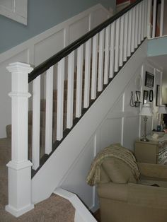 Super Basement Stairs Ideas Staircase Remodel Board And Batten 24 Ideas Stair Railing, Banisters, Railings, Black Banister, Railing Ideas, Tiny House Stairs, Wrought Iron Stairs, Staircase Remodel, Staircase Makeover