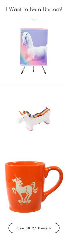 """""""I Want to Be a Unicorn!"""" by polyvore-editorial ❤ liked on Polyvore featuring unicorndecor, home, lighting, tripod lights, tripod lamp, home decor, office accessories, kitchen & dining, drinkware and drink & barware"""
