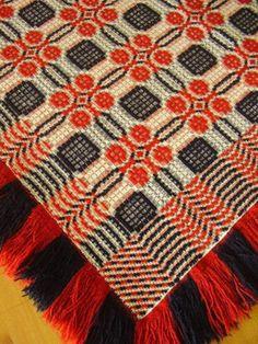 Antique Coverlet Whig Rose c1840 Geometric Scarlet Red Indigo Blue Wool Overshot | eBay