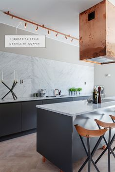 industrial style copper details in lighting hood and legs - coco kelley