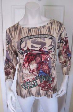 Women's Bit & Bridle Sequin USA, Cowgirl, Western, Wild West Shirt, Size XL #BitBridle #Blouse