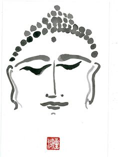 Zen Brush Buddha's Face Fine Art Sumi Ink Painting Buddha Meditating Brush Painting, zen decor