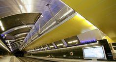 Estacion Metro Colon, Santiago #Chile. QuadroClad™ Metal #Facade Panels by Hunter Douglas. #architecture #yellow