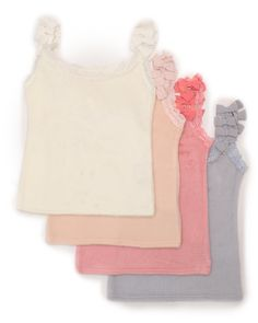 These colorful, camisole style tank tops from Japanese fashion label LIZ LISA are a great way to add a little feminine style to your look! Available in white, pink, deep pink or blue each of the tank tops has a frilly lace trim around the neck and arms plus a stylish ribbon motif on the shoulder straps.  #jfashion #kawaii