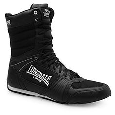new style f0e89 d6b3e Lonsdale Mens Contender Boxing Boots Full Lace Up Sport Shoes Trainers  Footwear BlackWhite UK
