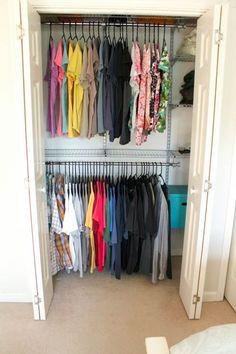 Conquer closet clutter with a great closet organizer on a budget! Diy Home Decor Bedroom, Diy Home Decor On A Budget, Bedroom Ideas, Cluttered Bedroom, Master Bedroom Closet, Bedroom Closets, Bedrooms, Do It Yourself Home, Closet Organization